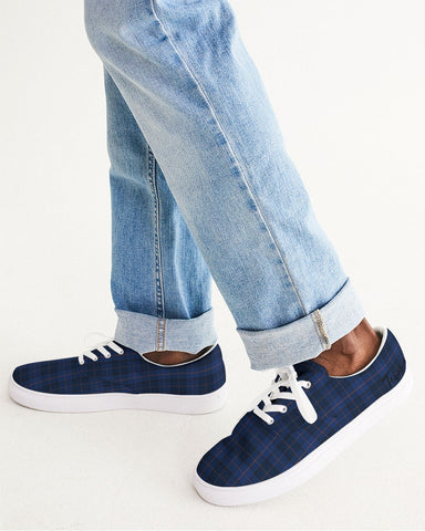 Blue Plaid Men's Lace Up Canvas Shoe