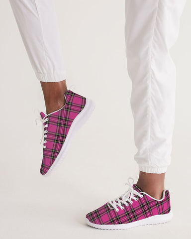 Pink Plaid Women's Athletic Shoe
