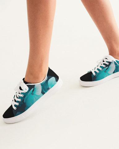 Teal Floral Women's Faux-Leather Sneaker