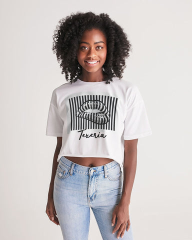 Pin Stripe Lips Women's Lounge Cropped Tee