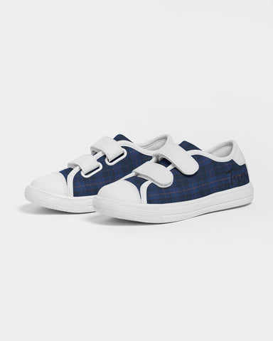 Blue Plaid Kids Velcro Sneaker