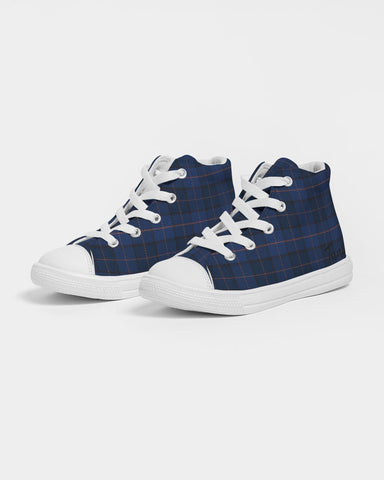Blue Plaid Kids Hightop Canvas Shoe