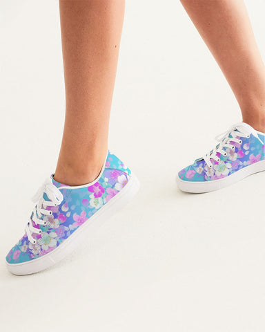 Floral Pinks Women's Faux-Leather Sneaker
