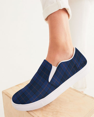 Blue Plaid Women's Slip-On Canvas Shoe