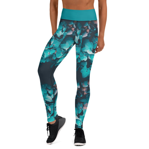 Teal Floral Leggings with pockets