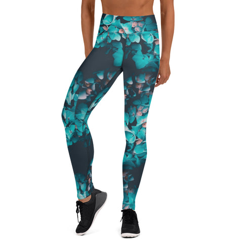Teal Floral 2 Leggings without pockets