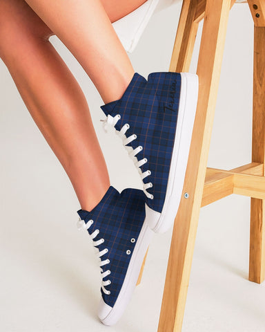 Blue Plaid Women's Hightop Canvas Shoe