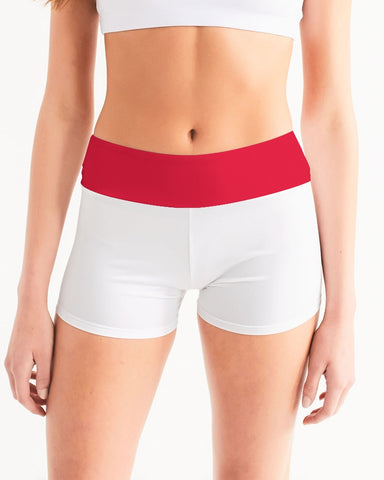 Candy Apple Red Women's Mid-Rise Yoga Shorts