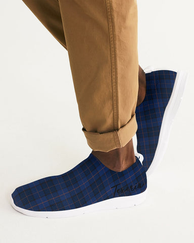 Blue Plaid Men's Slip-On Flyknit Shoe