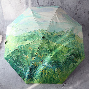 Artistic Oil Painting Automatic Rain Sun Umbrella For Women Portable 3-fold Black Coating UV Umbrella For Female Creative Gift