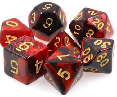 Tmg Dice Black/Red Fusion (Set Of 7)