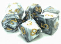 Tmg Dice Smoky Silage White/Black Fusion (Set Of 7)