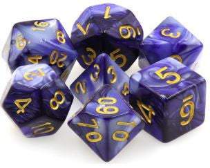 Tmg Dice Dark Purple/White Fusion (Set Of 7)