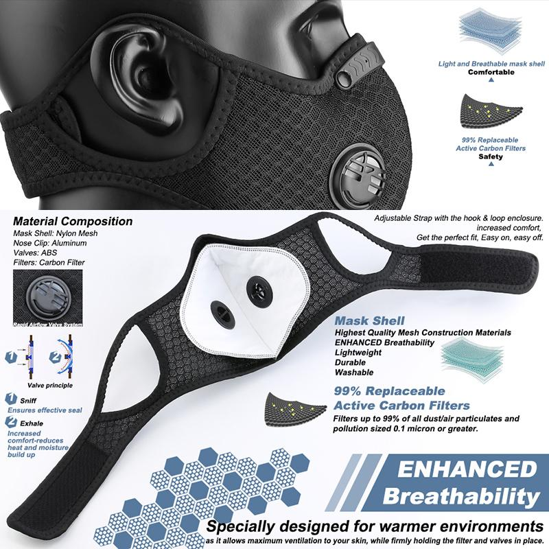 Sports Masks with Carbon Filter and Valves