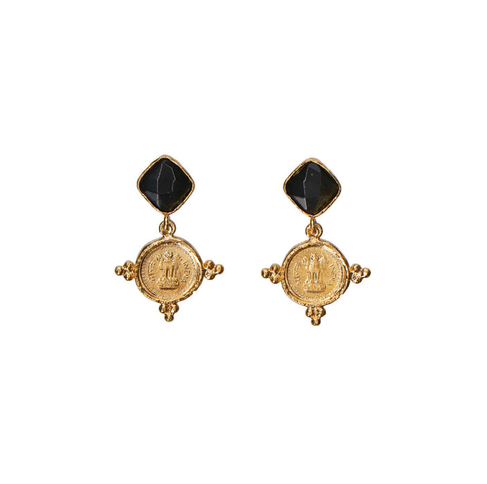 Aretes Bangalore Obsidiana Golden