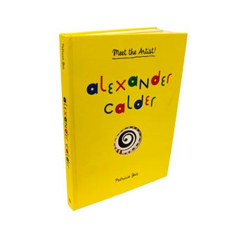 Yellow hard cover interactive children's book on artist Alexander Calder.