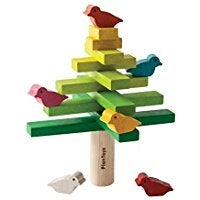 Tree game including multi-colored birds, rectangle branches., and cylinder trunk pieces.