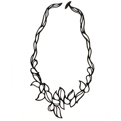 Droplet design black vegetal necklace.