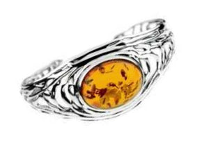 Honey Amber cuff wrap around band bracelet of sterling silver.