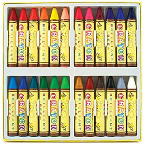 Crayons in assortment of colors in white tray case.