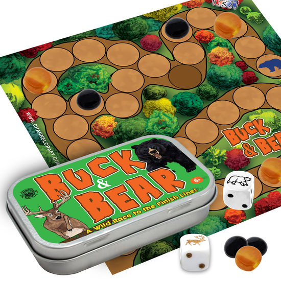 Bear and Buck Dice, stones, cloth gameboard in tin.