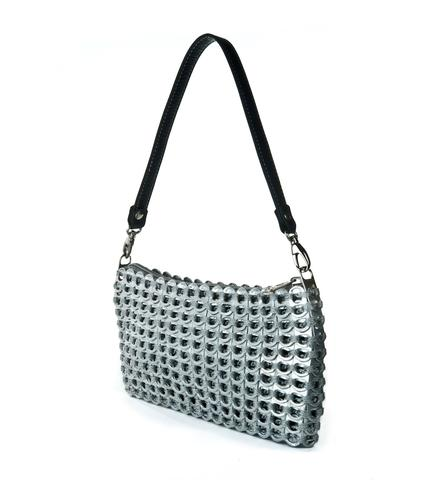 Petite clubbing bag. Silver with black leather detachable strap.
