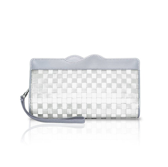 Rectangle stainless-steel clutch with strap.