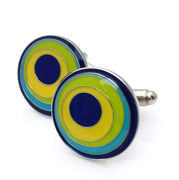 Round cufflinks with navy, blue, green, yellow design.
