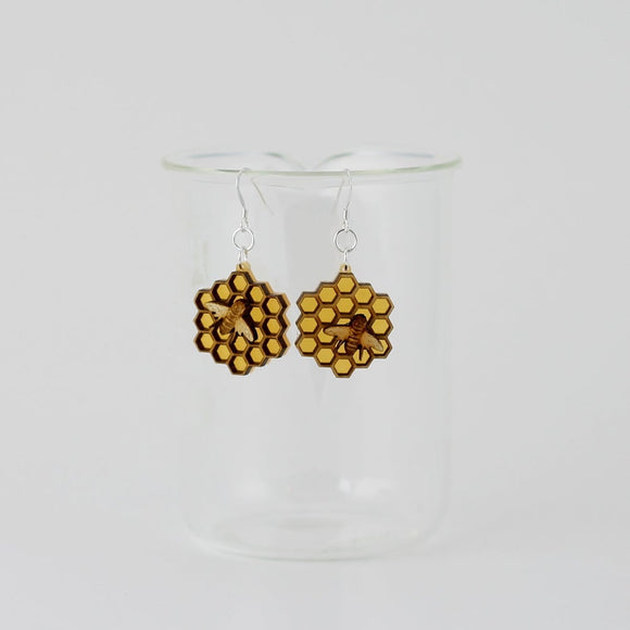 Honeycomb Bee Earrings & Necklaces