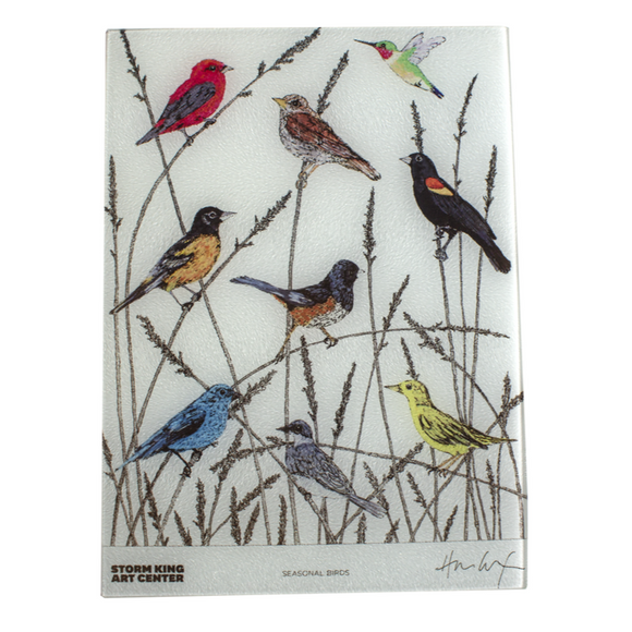 Rectangle board with seasonal birds in native grass.