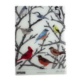 Rectangle board with year-round birds in tree branches.