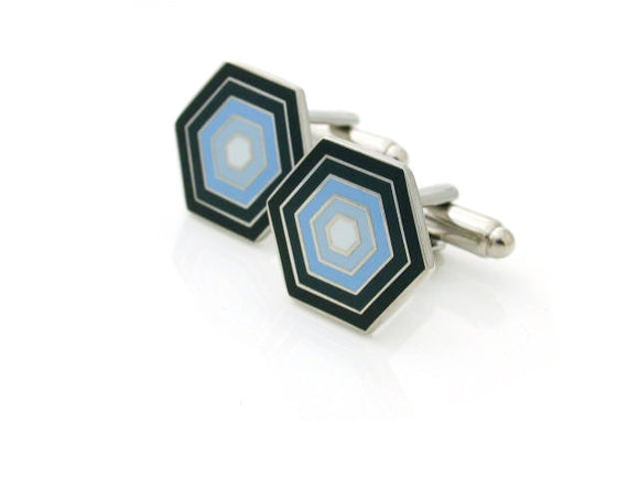 Black/blue honeycomb pattern cufflinks.