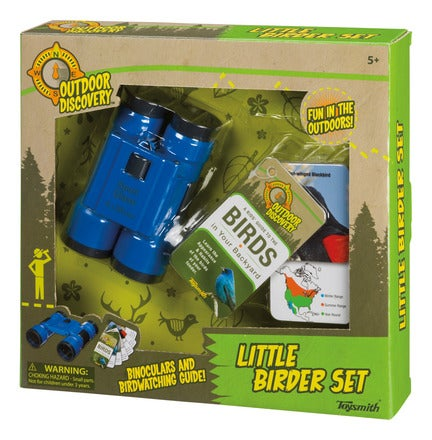 Boxed set with child's binoculars and bird guide.