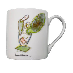 White mug with multi-colored illustration of Catus #6 and Dennis Oppenheim signature.
