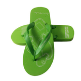 Green flip flops with sculpture illustration and Storm King Art Center logo.
