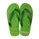 Green flip flops with Dennis Oppeheim Cactus #6 illustration.