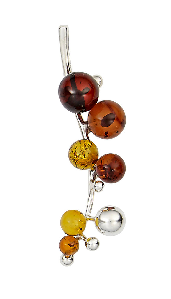 honey/citrine/cherry/silver ball clusters with  snake sterling silver chain.