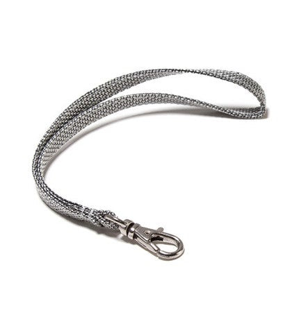 Silver nylon wrist strap with lobster clasp. 6 inches.