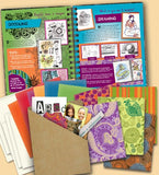Journal with package contents of assorted patterned and colored decorative paper.