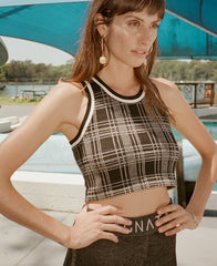 RETRO CHECK RACER CROP