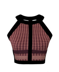 HOUNDSTOOTH STRAP BACK CROP TOP