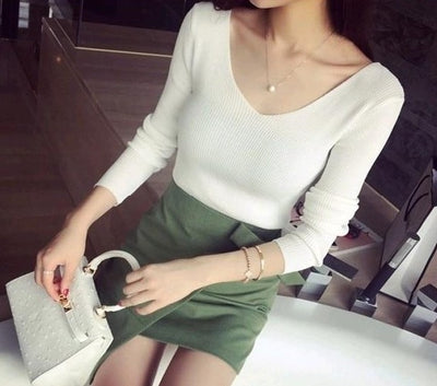 V Neck Knitted Sweater