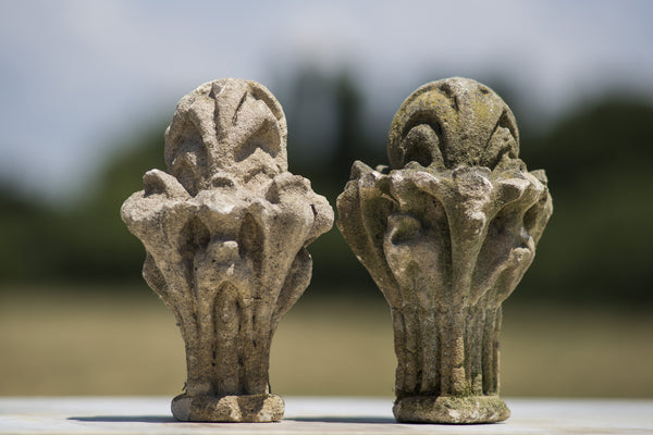 Pair of Antique Carved Bath Stone Finials