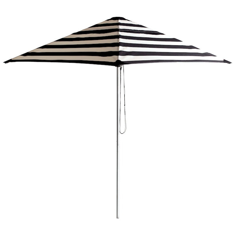Basil Bangs 2M Square Striped Umbrella in Chaplin (Black/White)