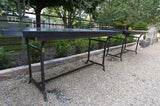 English Black Slate and Iron Console Table