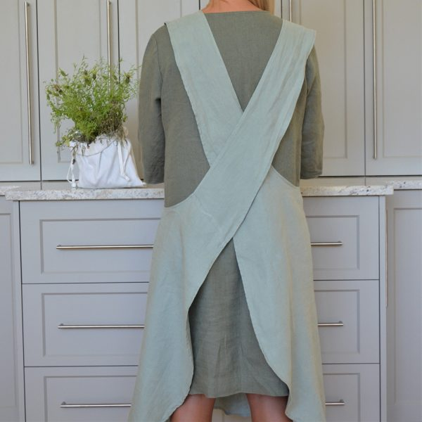 Linen Cross Strapped Pinafore Aqua