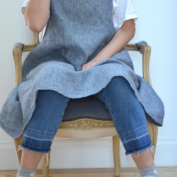 Linen Cross Strapped Pinafore Blue Marl