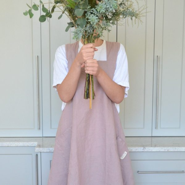 Linen Cross Strapped Pinafore Rose