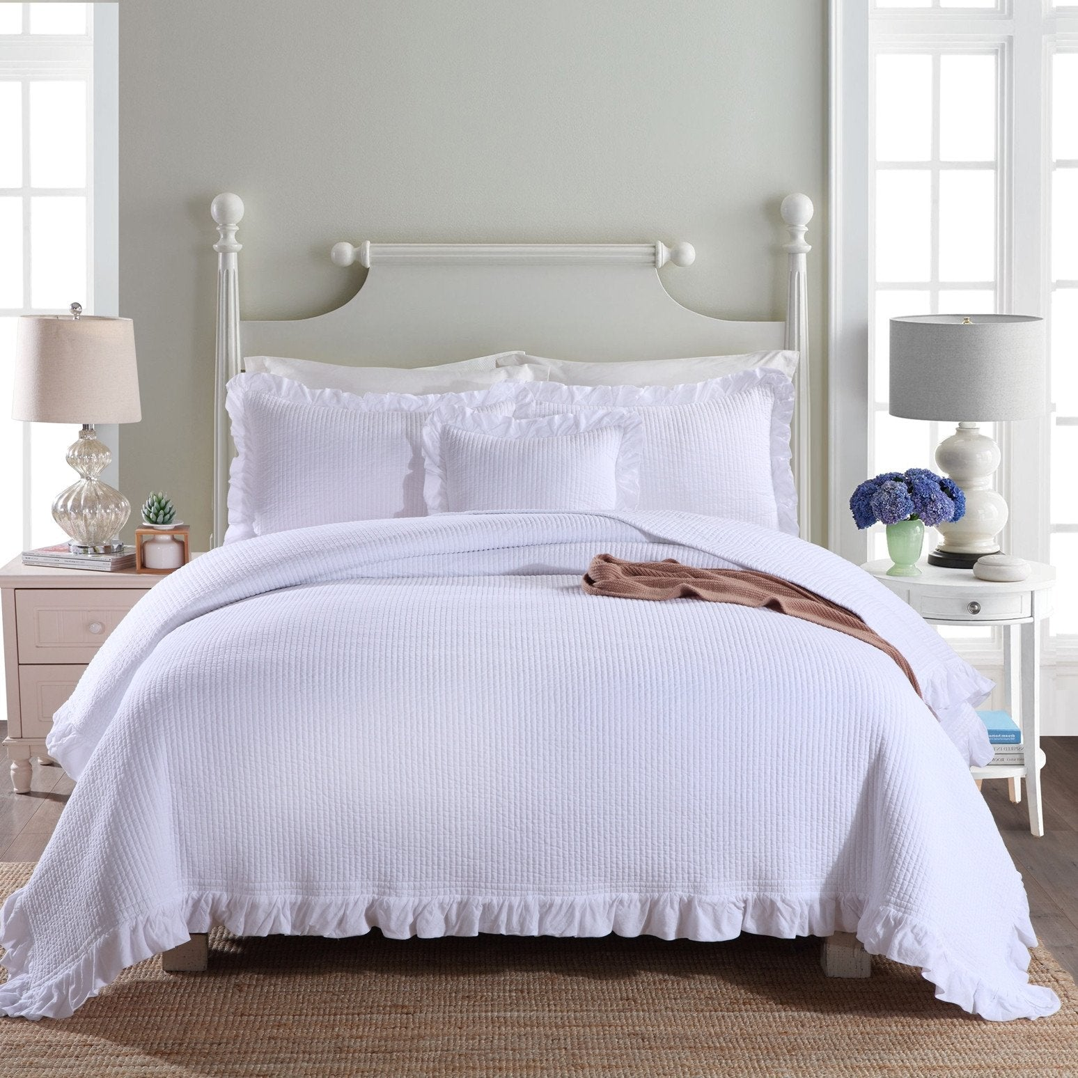 Audrey White King Coverlet