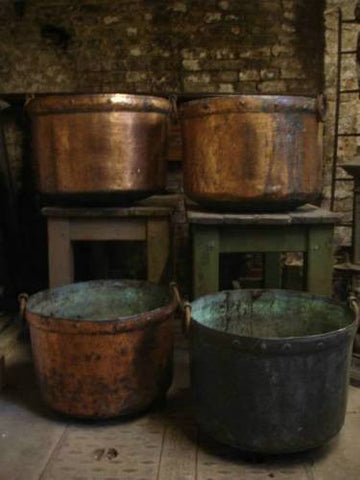 Near Pair of Antique English Copper Vats